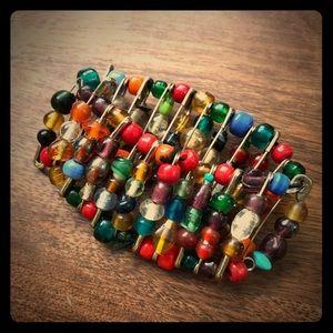 Unique upcycled beaded bracelet
